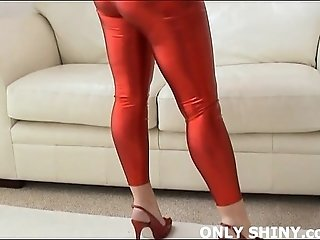 My shiny red PVC panties and high heel will get you hard