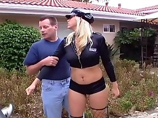 Busty blonde female officer gets DPed in stockings