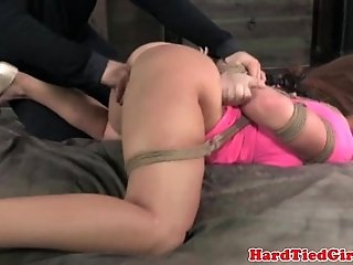 Box tied submissive being spanked