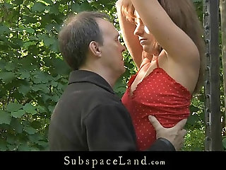 Lora restrained in the woods for being spanked and fucked