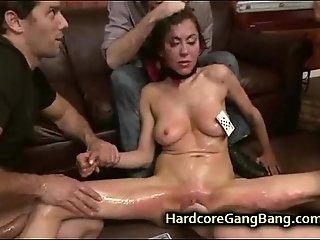 Busty babe spanked caned and gangbanged